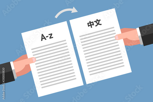 Fotomural  Concept of document translation from English to Chinese