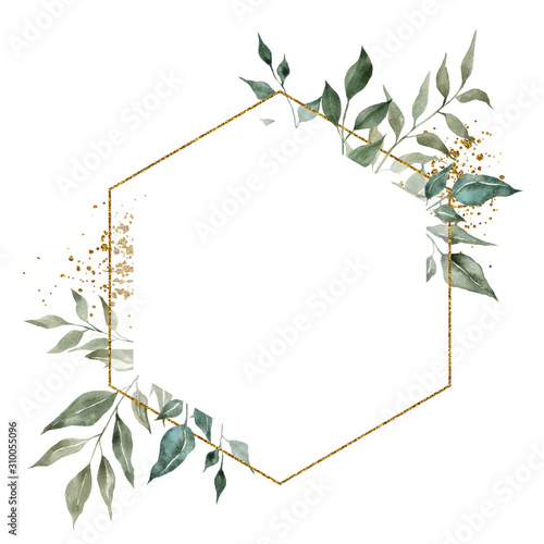 Geometry golden frames with watercolor hand draw branches of green leaves and succulents, isolated on white background Wall mural