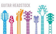 Guitar Neck. Silhouettes Of Music Instruments Headstocks Rock Guitar Vector Symbols Collection. Illustration Of Music Electric Guitar Shop Poster