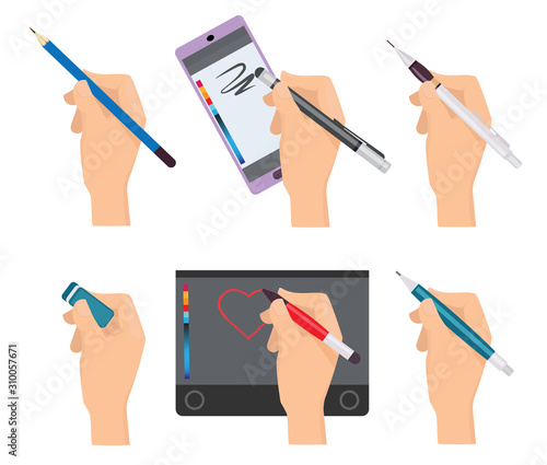 Hands holding pen. Writing items pens markers tools for writers vector cartoon set. Pen drawing tablet, pencil draw illustration Fotomurales