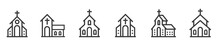 Church Bulding Line Icon Set. Icons Of Christian Religion. Flat Style - Stock Vector.
