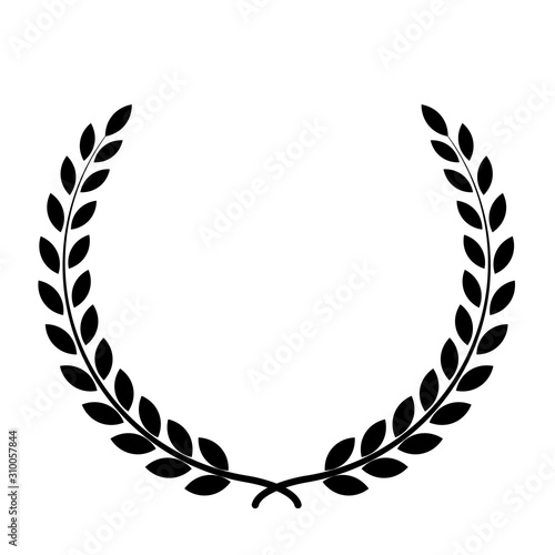 Black silhouette circular laurel foliate, wheat and oak wreaths depicting an award, achievement, heraldry, nobility on white background Tablou Canvas
