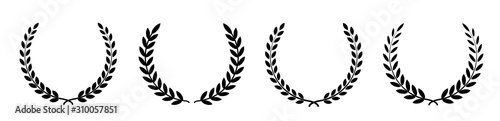 Photo Set black silhouette circular laurel foliate, wheat and oak wreaths depicting an award, achievement, heraldry, nobility on white background