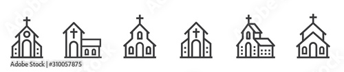 Fotografie, Tablou Church bulding line icon set