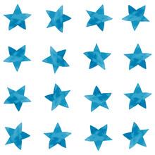 Watercolor Vector Illustration Of Blue Stars Pattern Set