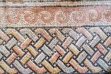 Old Colored Mosaic Floor In Roman Catholic Church Dominus Flevit. Fragment, Details. Jerusalem, Israel