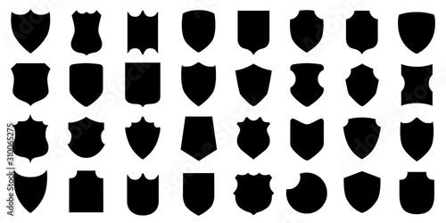 Obraz na plátně Set different shields icons, protect signs – stock vector