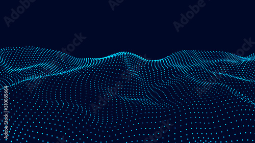 Obraz Vector futuristic wave. Digital technology. Big data. - fototapety do salonu