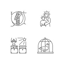 Bible Narratives Linear Icons Set. Resurrected Lazarus, Virgin Mary With Son Jesus, Gifts Of The Magi, Pigeon In Cage. Thin Line Contour Symbols. Isolated Vector Outline Illustrations. Editable Stroke