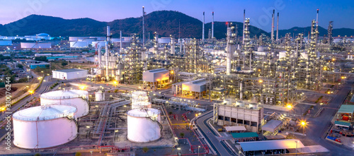 Fototapeta Aerial view of refinery plant,Industry Petrochemical at twilight obraz