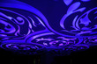 canvas print picture - modern ceiling abstract design in blue lights