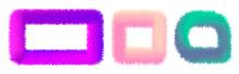 Set Of Colorful Fur Frames Isolated. Vector Illustration For Decoration Design