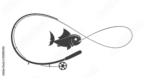 Fotomural Fishing rod emblem