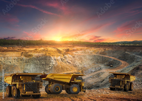 Big dump truck loading for transport minerals gold,Mining industrial at Thailand Canvas Print
