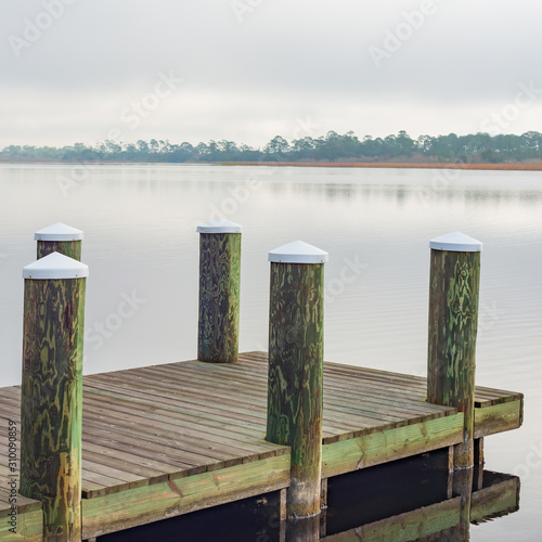 Boat Dock on Middle Lake Canvas Print