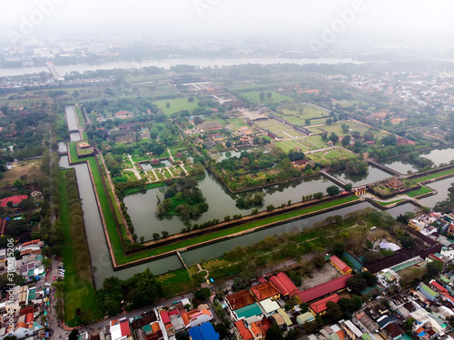 Leinwand Poster Aerial view of the Hue Citadel in Vietnam