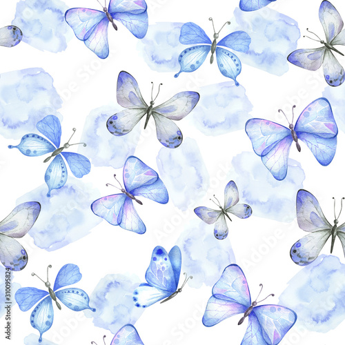 Tapeta fioletowa  watercolor-seamless-pattern-with-blue-butterflies