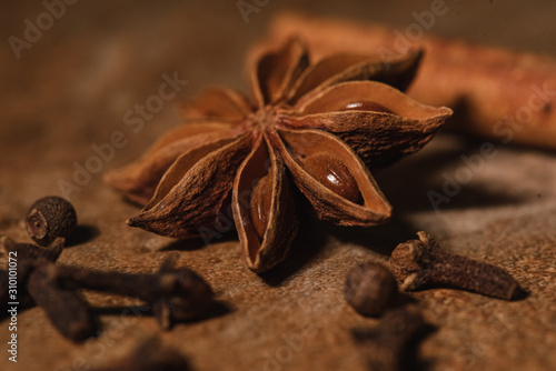 Star anise with cloves and cinnamon macro Wallpaper Mural