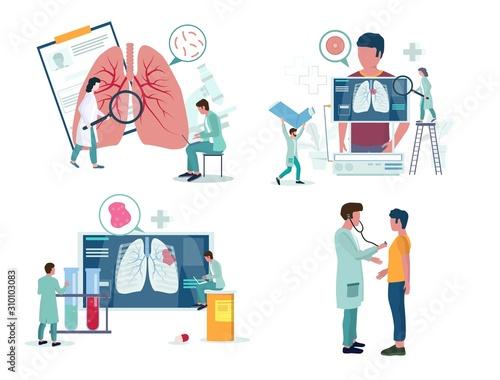 Obraz Pulmonology or respiratory medicine icon set, vector illustration - fototapety do salonu