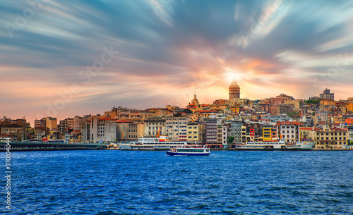 Galata Tower, Galata Bridge, Karakoy district and Golden Horn at dusk istanbul - Wallpaper Mural
