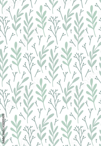 Seamless flat hand drawn pattern with branches, leaves and sticks on a white background. Vector rustic texture for wallpaper, fabrics and your creativity. - 310105499