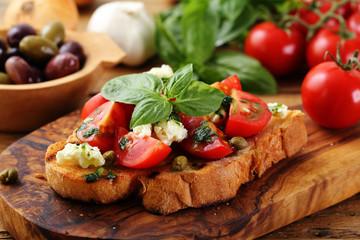 Panel Szklany Do restauracji bruschette con pomodoro e spezie