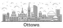 Outline Ottawa Canada City Skyline With Modern Buildings Isolated On White. Vector Illustration. Ottawa Cityscape With Landmarks.