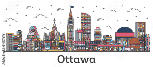 Outline Ottawa Canada City Skyline with Color Buildings Isolated on White.