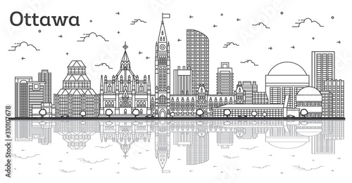 Outline Ottawa Canada City Skyline with Modern Buildings and Reflections Isolated on White.