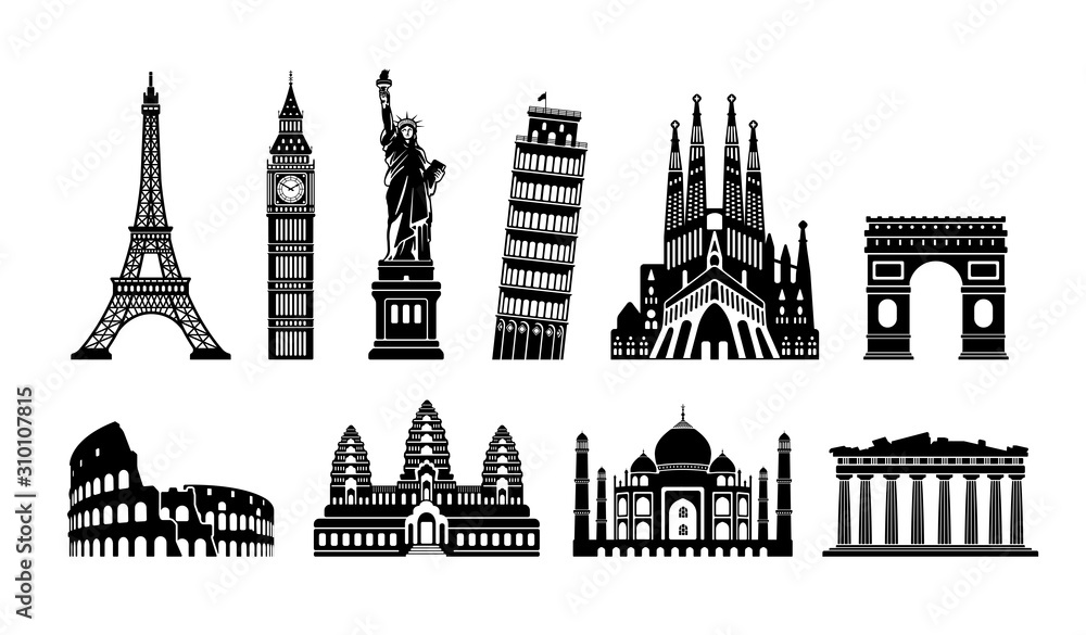 Fototapeta World famous buildings monochrome vector illustration set ( world heritage ) / Statue of liberty, Eiffel tower etc.