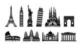 Fototapeta Wieża Eiffla - World famous buildings monochrome vector illustration set ( world heritage ) / Statue of liberty, Eiffel tower etc.