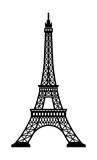 Fototapeta Fototapety z wieżą Eiffla - Eiffel tower - France , Paris / World famous buildings monochrome vector illustration.