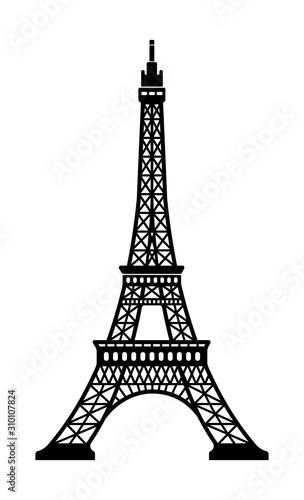 Eiffel tower - France , Paris / World famous buildings monochrome vector illustration.