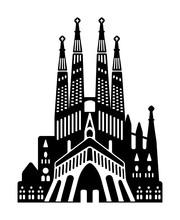Sagrada Familia - Spain / World Famous Buildings Monochrome Vector Illustration.