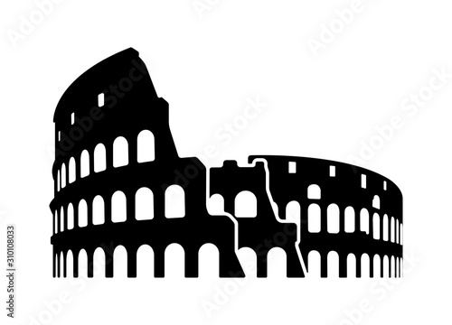 Colosseum - Italy, Rome / World famous buildings monochrome vector illustration Tapéta, Fotótapéta