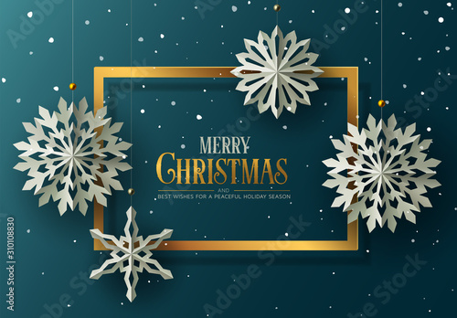 Holiday greeting card design. Winter Background with paper Snowflakes.