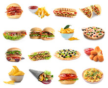 Set Of Different Fast Food Pro...