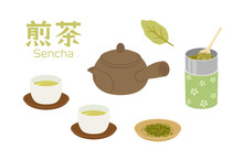 煎茶のイラストセット