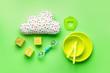 Leinwanddruck Bild - Baby accessories on color background