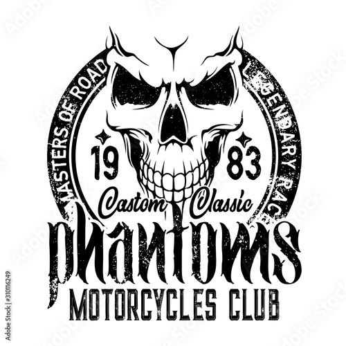 Bikers club emblem, skull icon, custom motorcycle racers and motorbike racing Fototapete