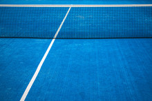 Blue Paddle Tennis Net And Cou...