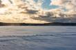 Landscape of a winter lake.