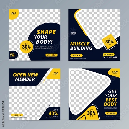 Fitness gym social media post square banner template for fitness studio promotion Fototapete