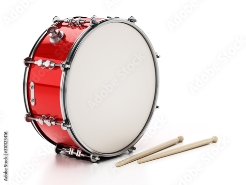 Fotomural Snare drum set isolated on white background. 3D illustration