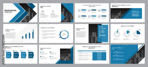 Fototapeta business presentation backgrounds design template and page layout design for brochure ,book , magazine, annual report and company profile , with info graphic elements graph design concept obraz