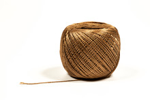 Brown Strong Thread On A White Background.