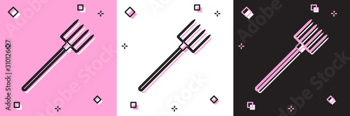 Tablou Canvas Set Garden pitchfork icon isolated on pink and white, black background