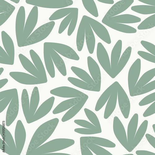 obraz PCV Leaves Seamless Pattern. Green on White Simple Leaves Nature Pattern. Vector EPS 10.
