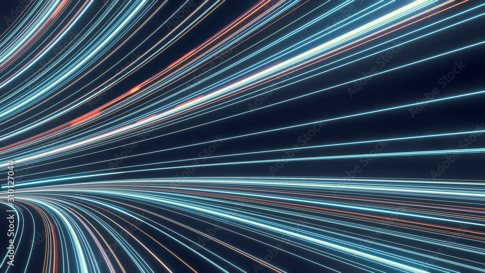 Fototapeta 3D Rendering of abstract fast moving stripe lines with glowing sun light flare. High speed motion blur. Concept of leading in business, Hi tech products, warp speed wormhole science.