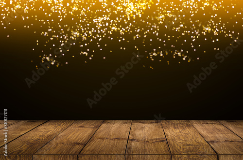 Obraz old wood background Wooden counter with firework on night sky - fototapety do salonu